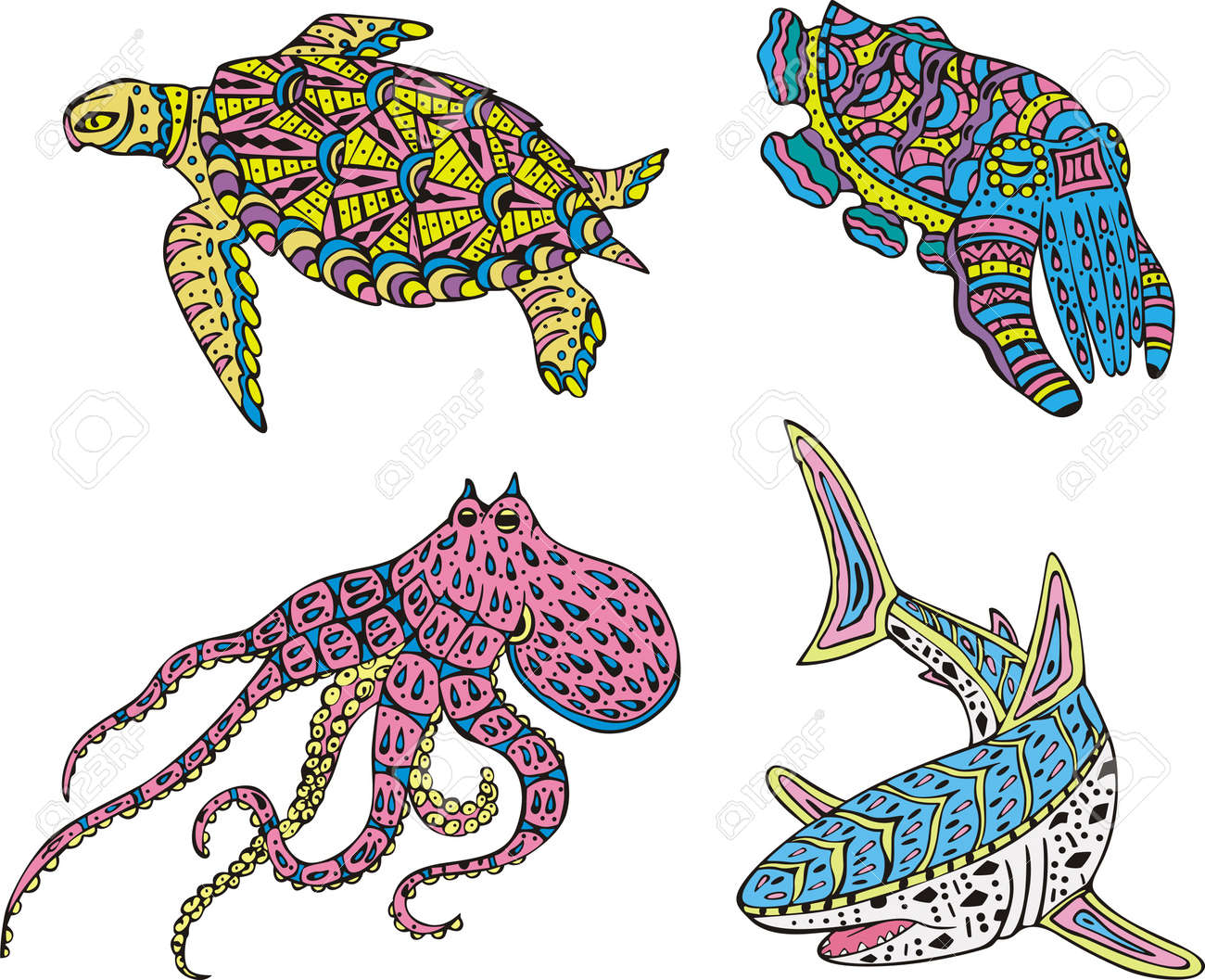 stylized motley sea animals color vector illustrations royalty