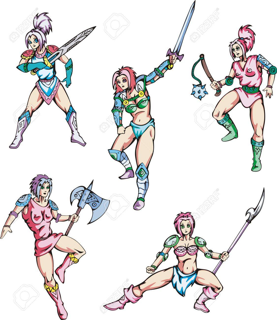 Dangerous fascinating amazons. Set of color vector illustrations. Stock Vector - 16668789