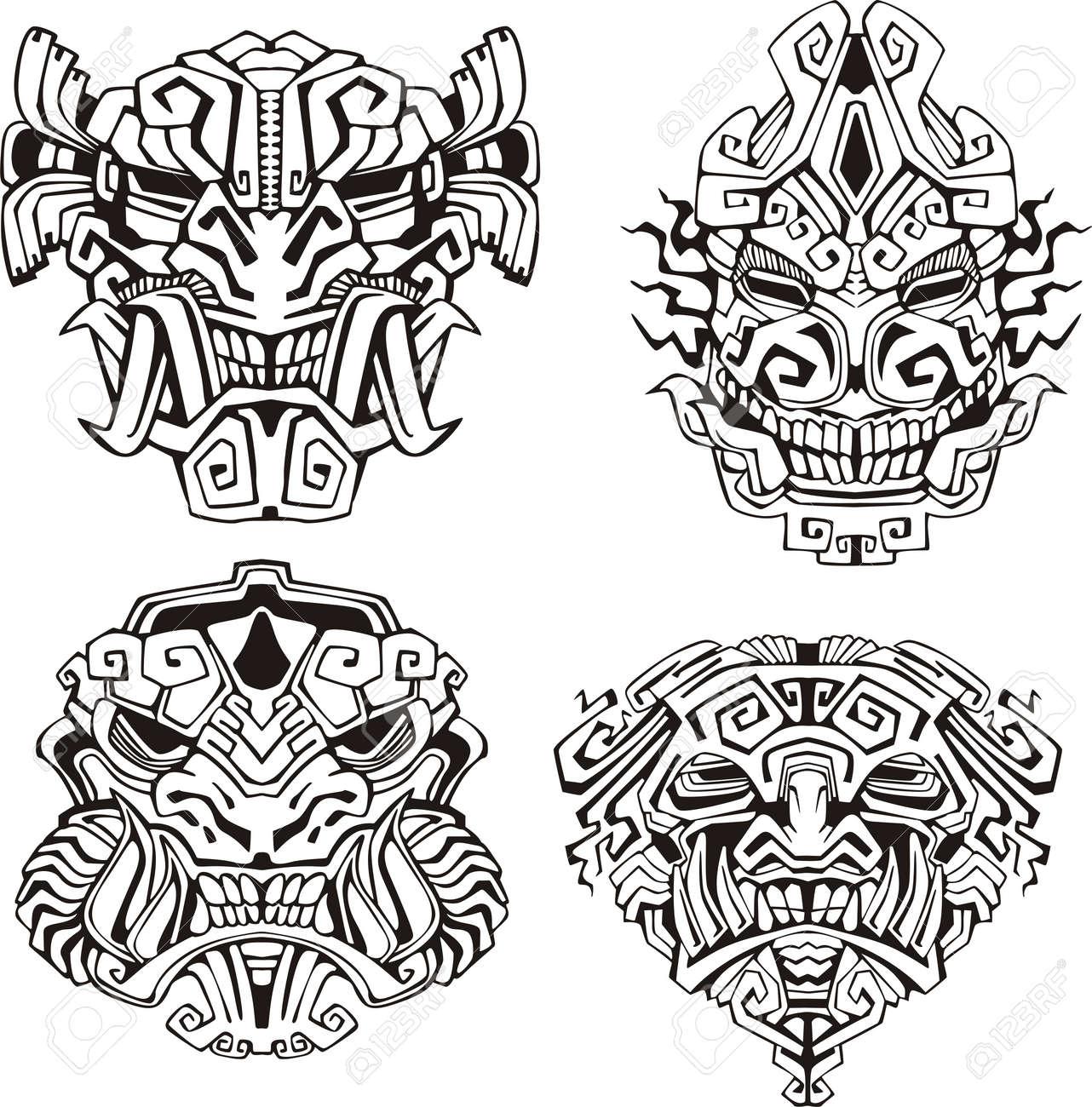 Aztec monster totem masks. Set of black and white vector illustrations. Stock Vector - 16729495