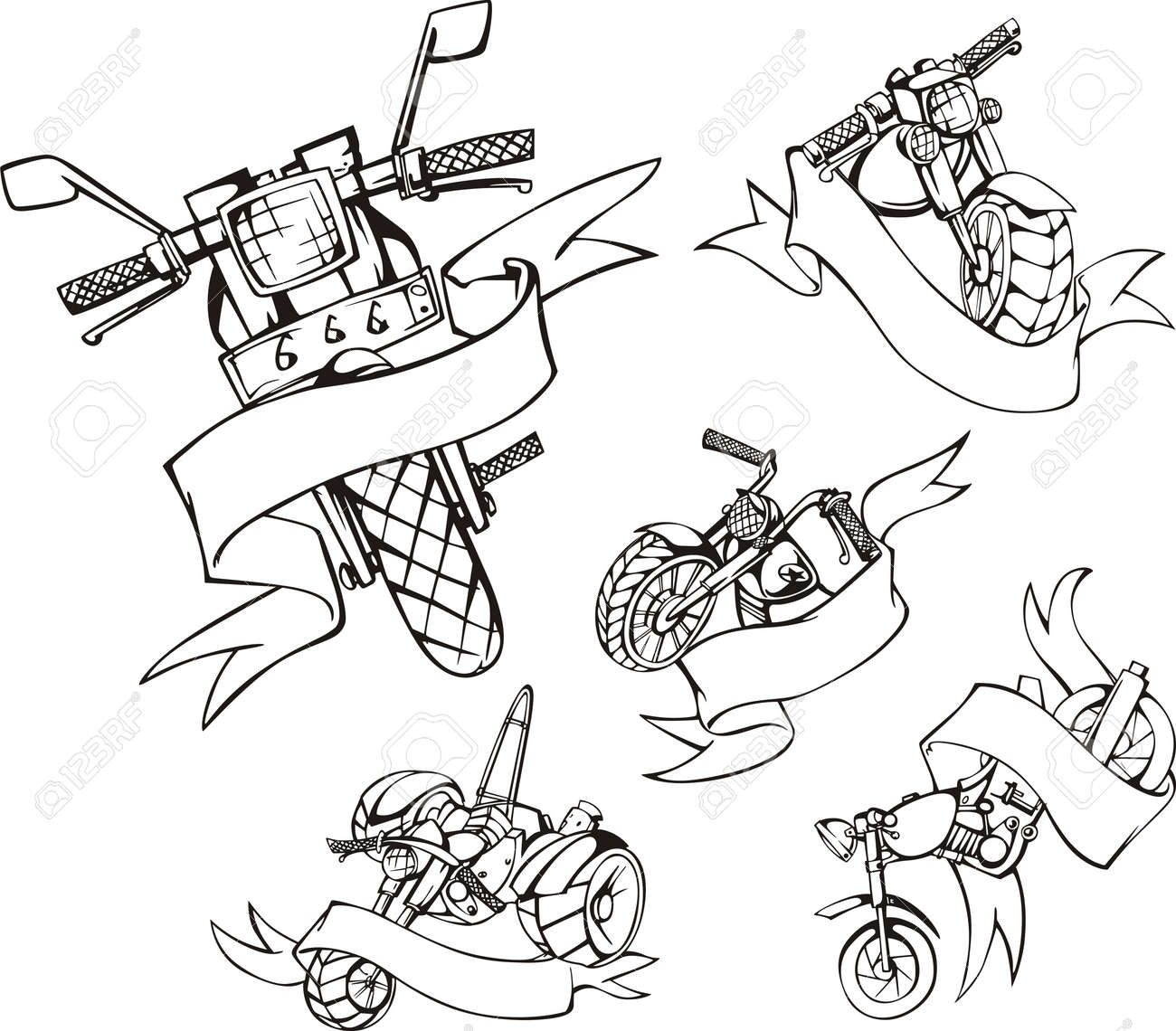 Motorcycle templates with ribbons. Set of black and white vector illustrations. Stock Vector - 16799454