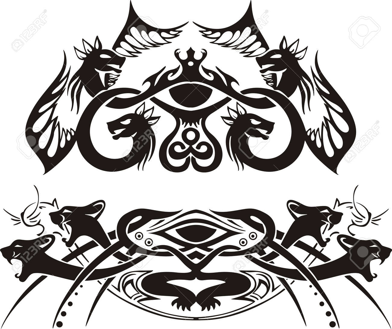 Stylized symmetric vignettes with dragons and cats. Stock Vector - 17331752
