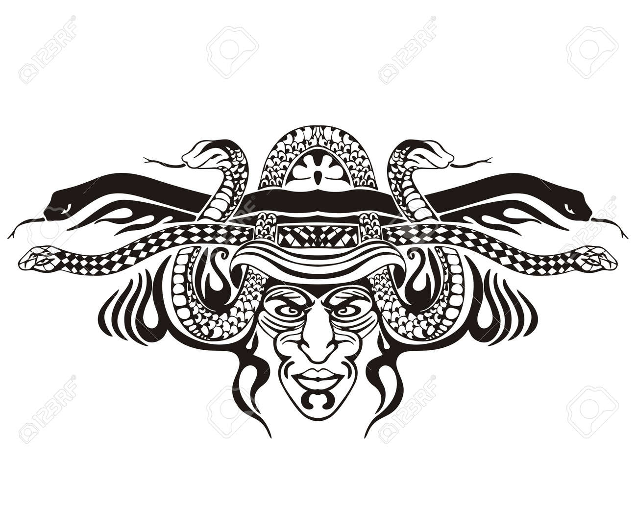 Stylized symmetric vignette with snakes. Stock Vector - 17331773