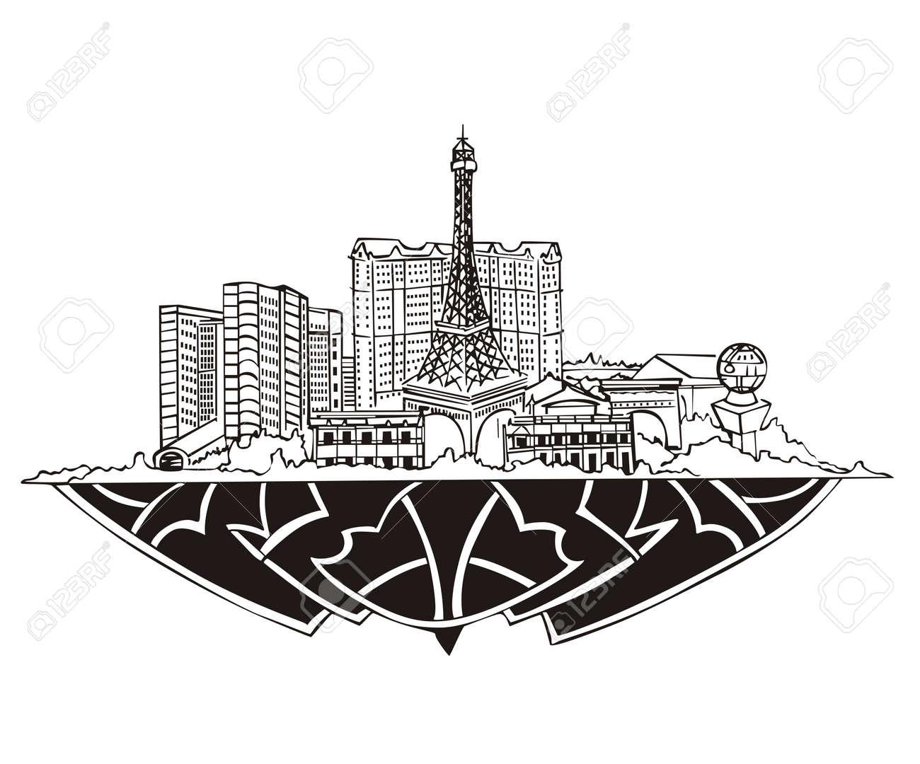 Las Vegas Nv Skyline Black And White Royalty Free Cliparts