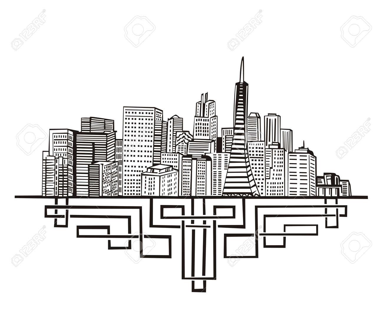 San Francisco, CA Skyline. Black and white Stock Vector - 17331909