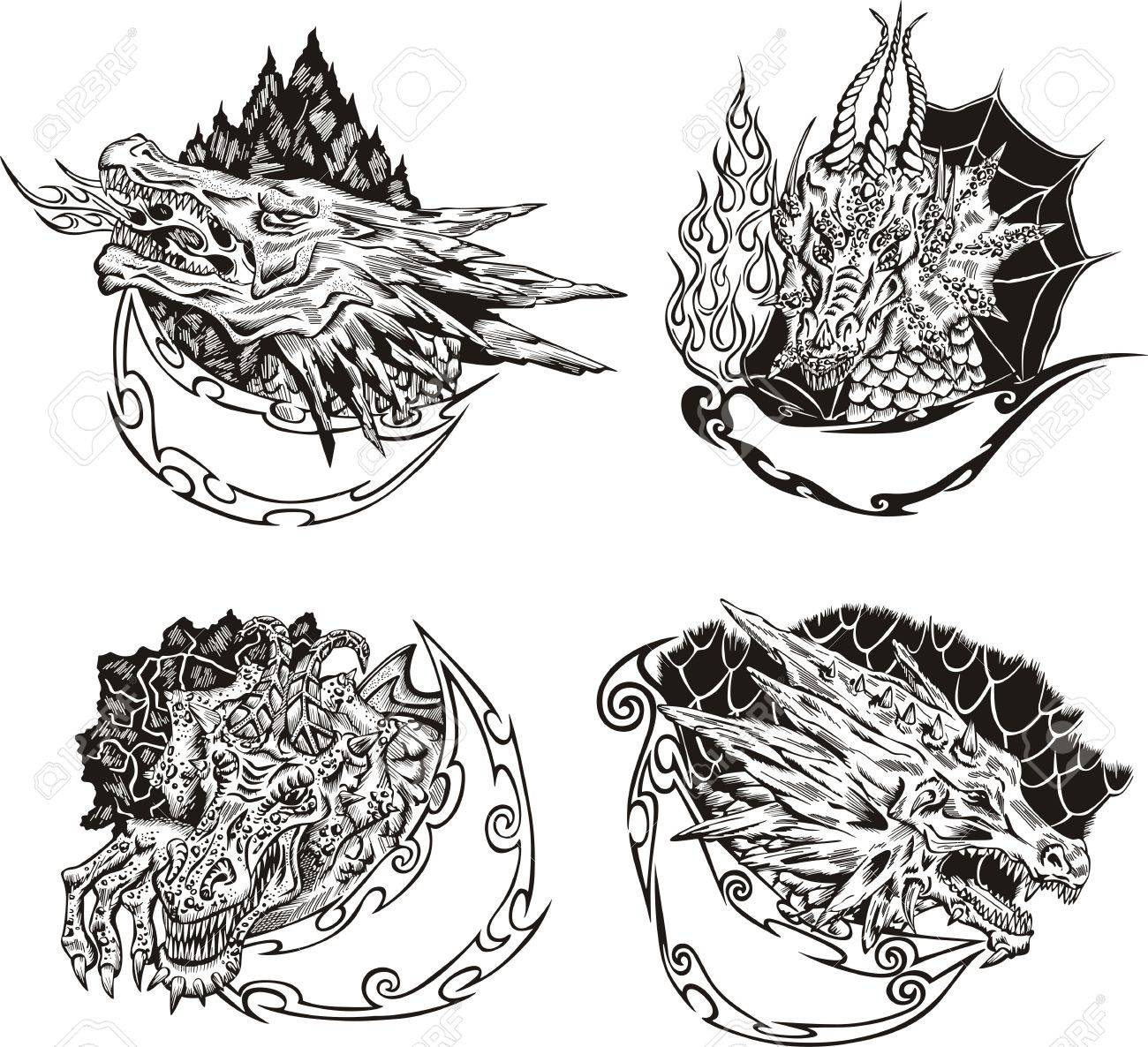 Decorative templates with dragon heads for mascot design. Stock Vector - 17946235
