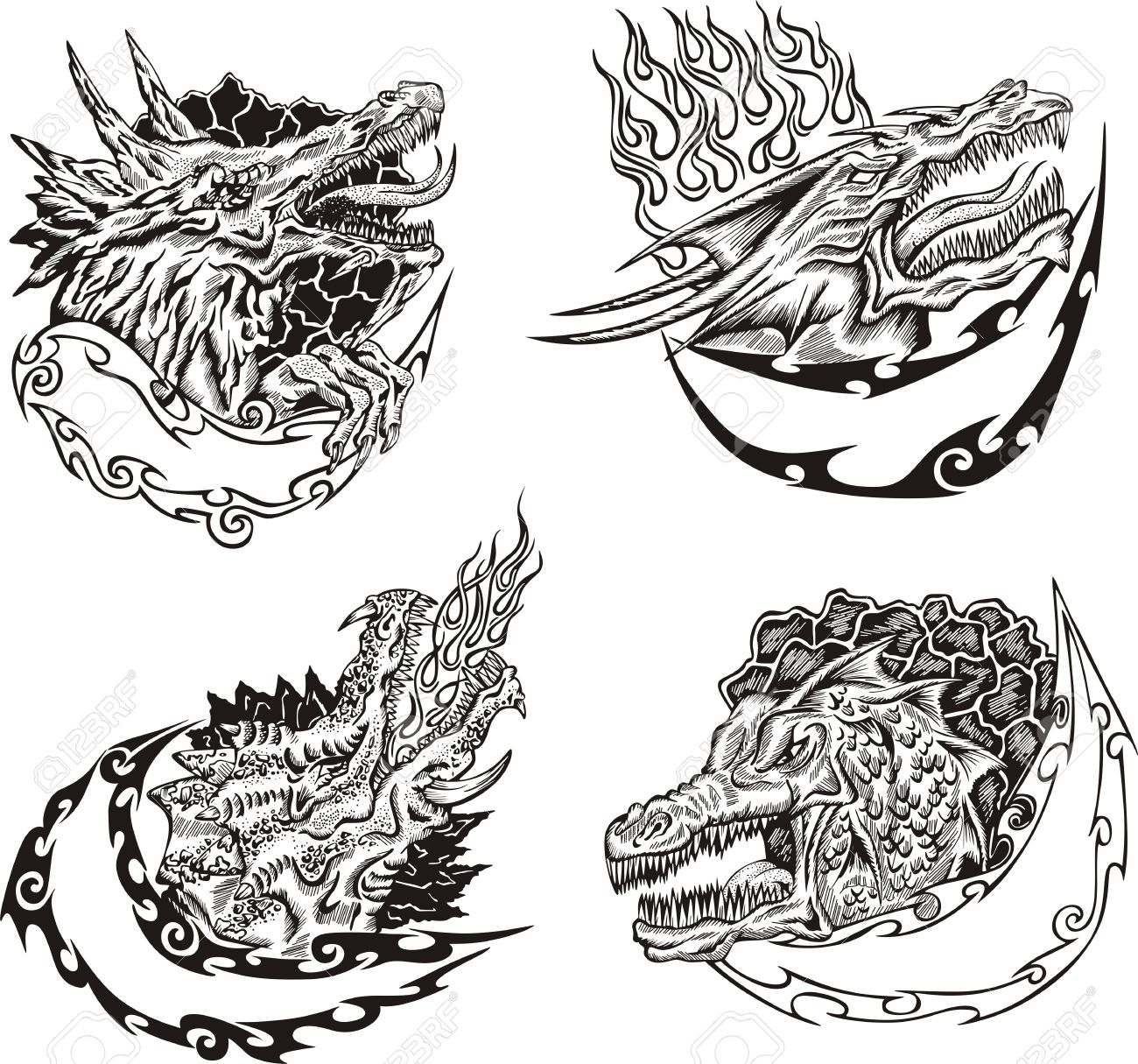 Decorative Templates With Dragon Heads For Mascot Design. Royalty ...
