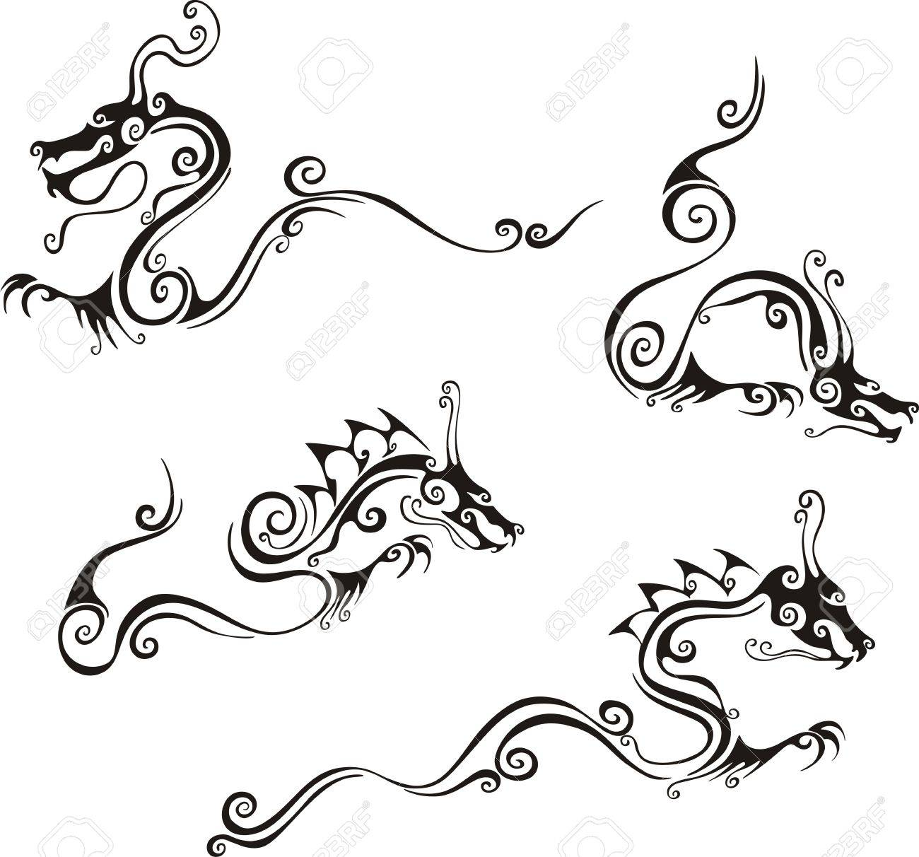 Stylistic dragon tattoos. Set of black and white vector illustrations. Stock Vector - 18830710