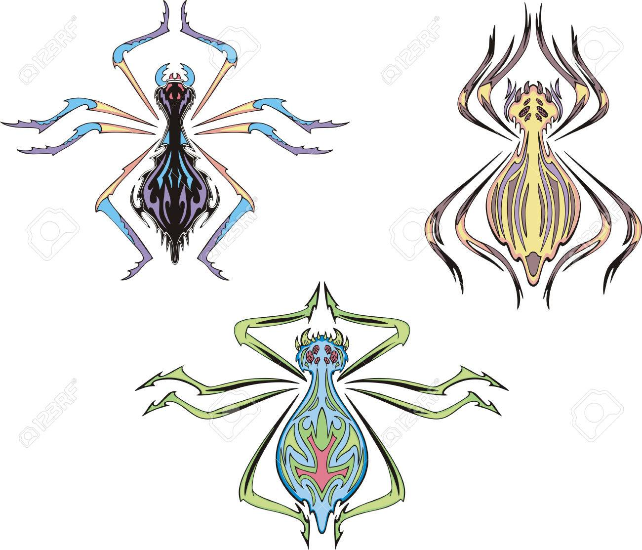 Symmetrical spider tattoos. Set of color vector illustrations. Stock Vector - 22323276
