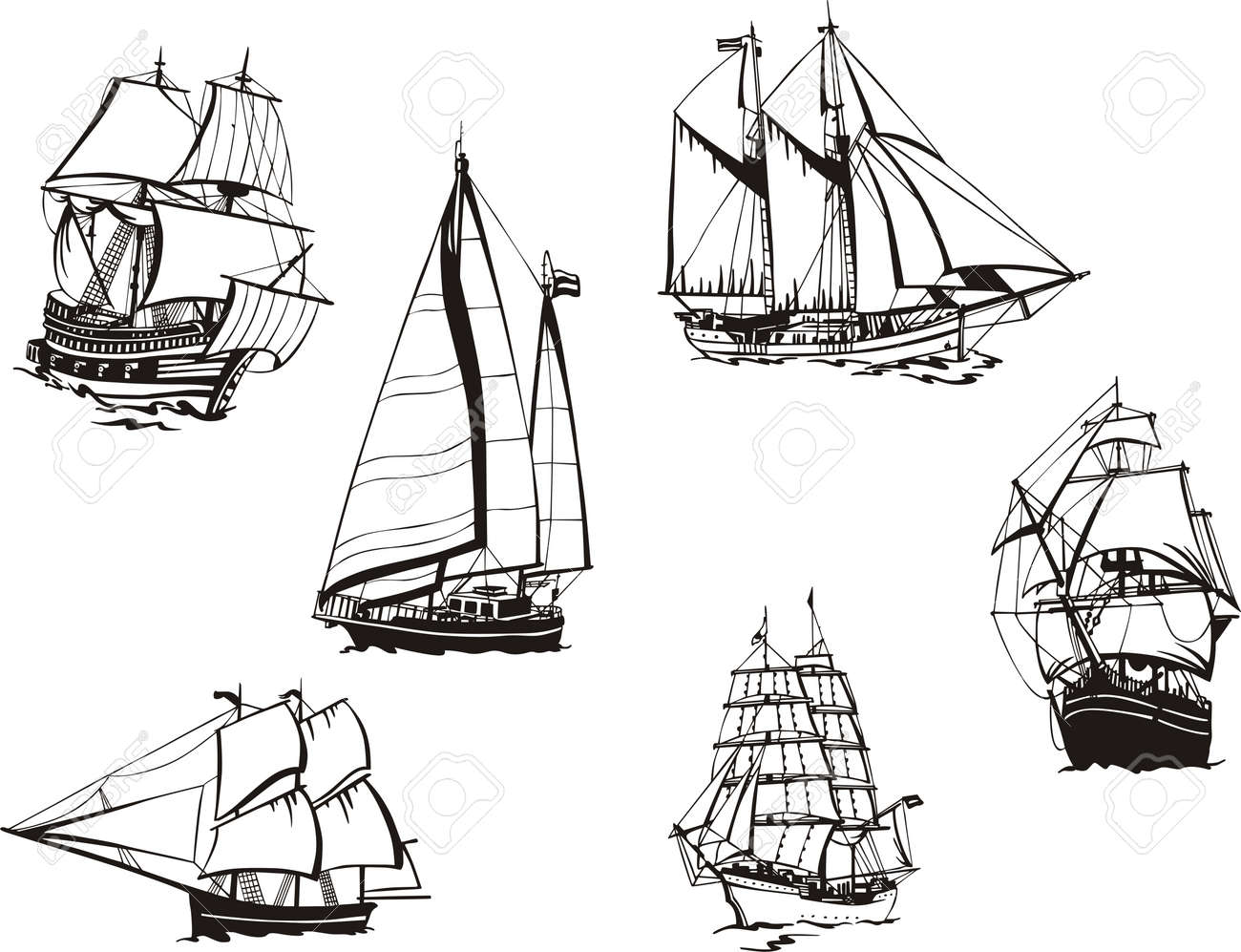 black and white sketches of sailing ships royalty free cliparts