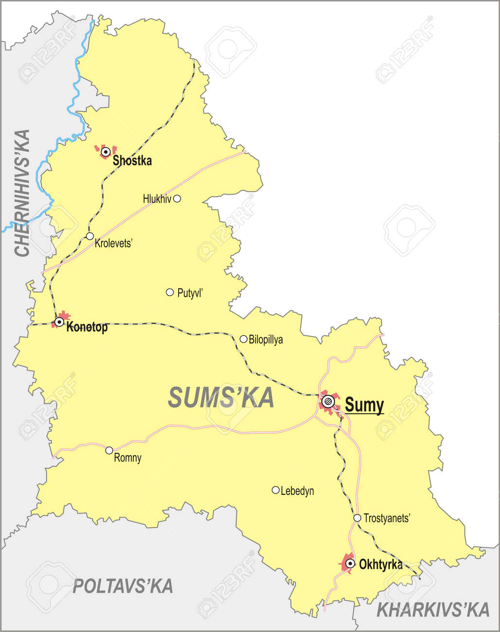 Map Of Sumy Oblast With Major Cities And Roads Royalty Free Cliparts