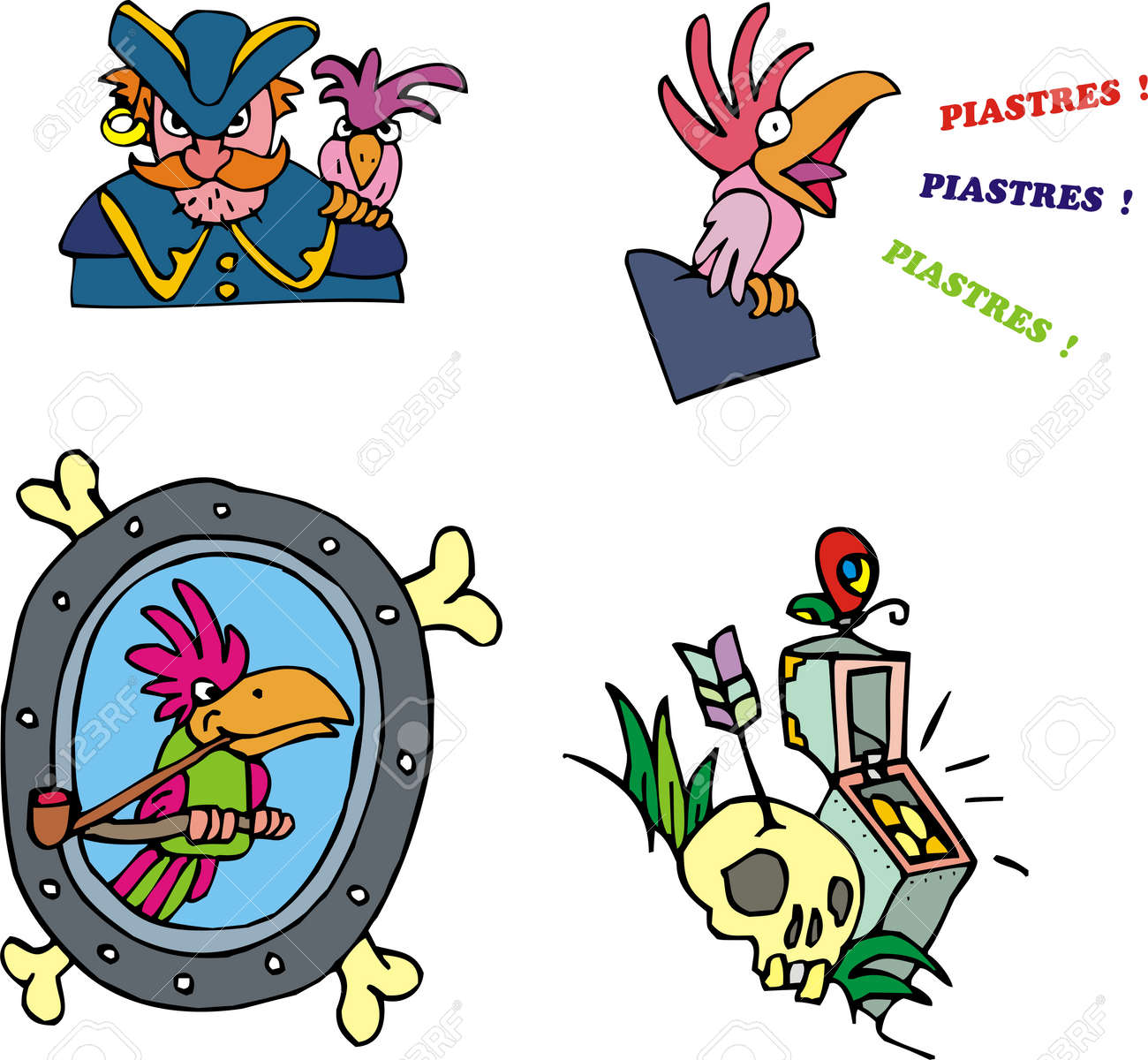 Pirate And Parrot Clipart Set Of Adventure Vector Illustrations