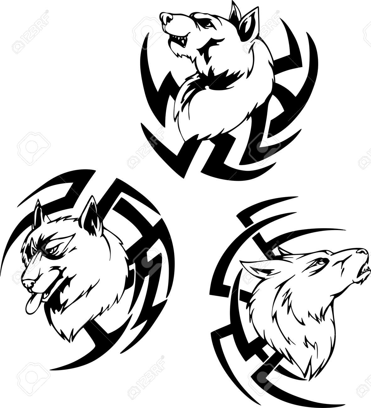 Predator wolf head tattoos set of black and white vector illustrations stock vector