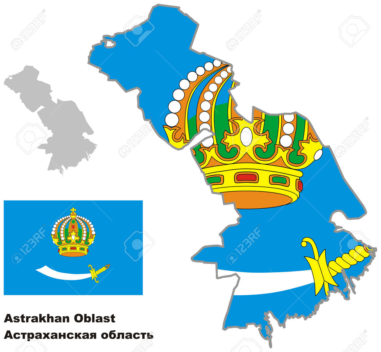 Outline Map Of Astrakhan Oblast With Flag. Regions Of Russia ...