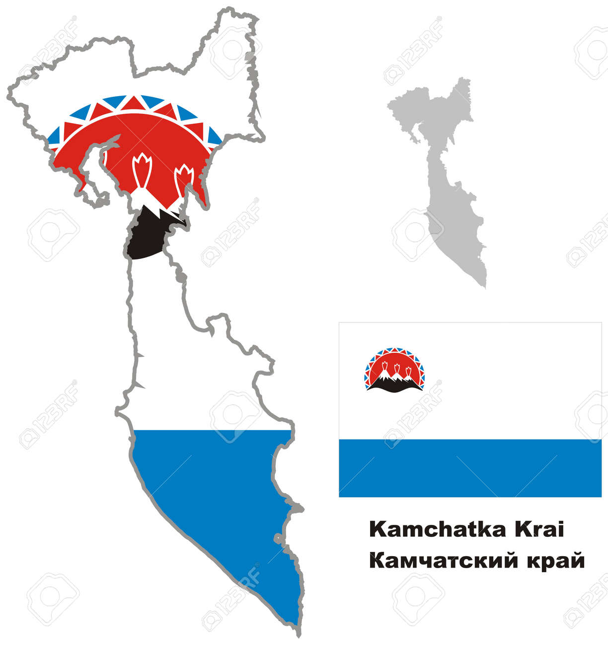 Outline Map Of Kamchatka Krai With Flag Regions Of Russia Vector