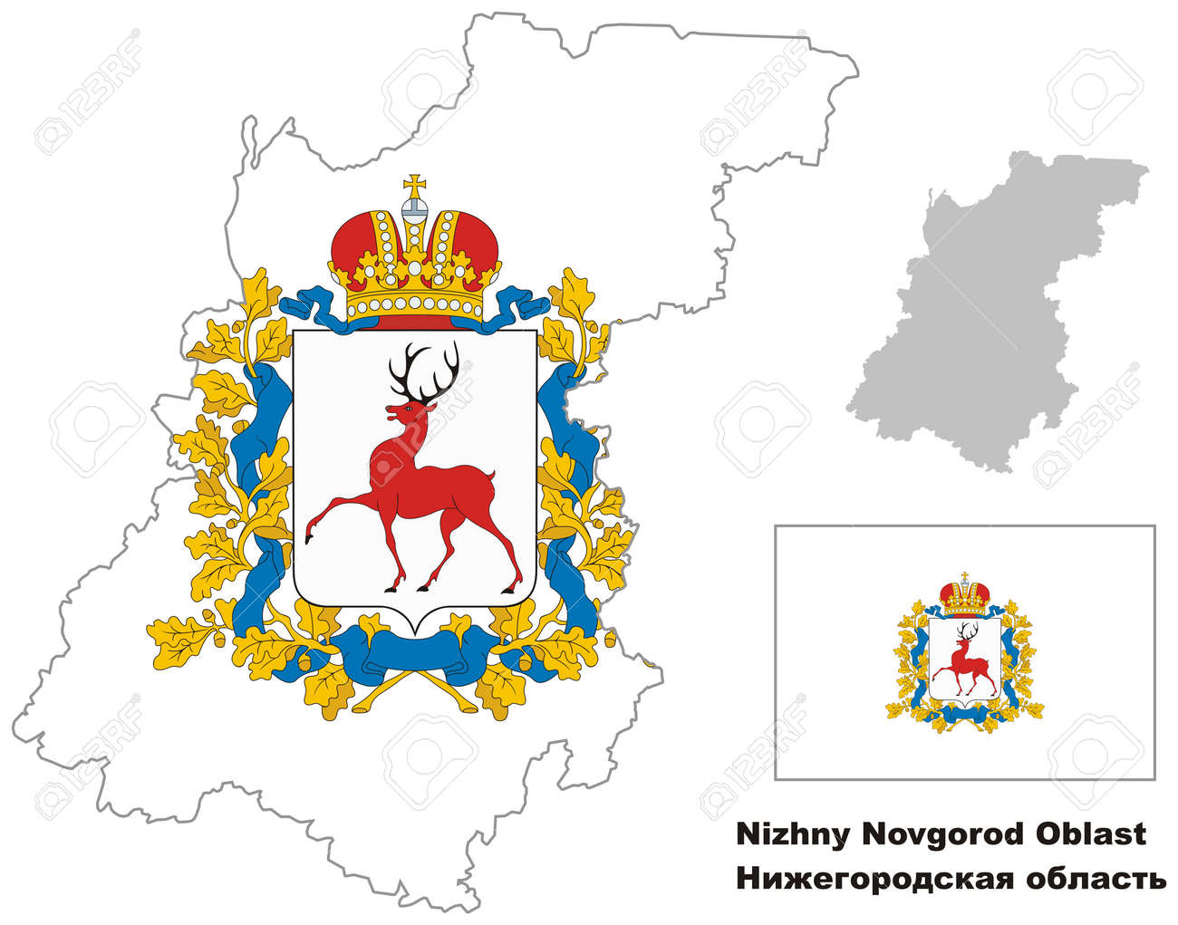 Novgorod Russia Map.Outline Map Of Nizhny Novgorod Oblast With Flag Regions Of Russia