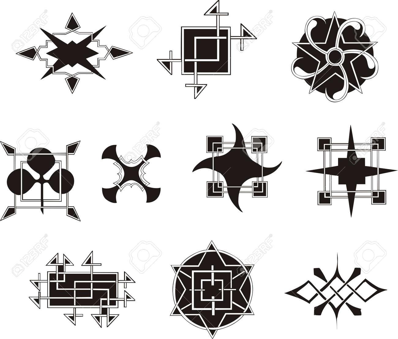 左右対称の幾何学的な装飾要素のセットですベクトル イラストの