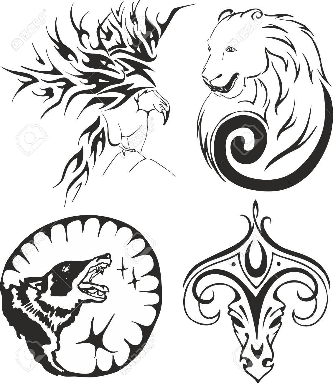Blanco Y Negro Tatuaje Tribal Fijó Con Un águila Un Oso Un Lobo Y