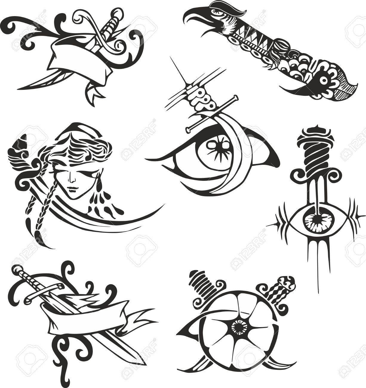 Set Of Black And White Tribal Tattoo Stencils With Blades Tattoo