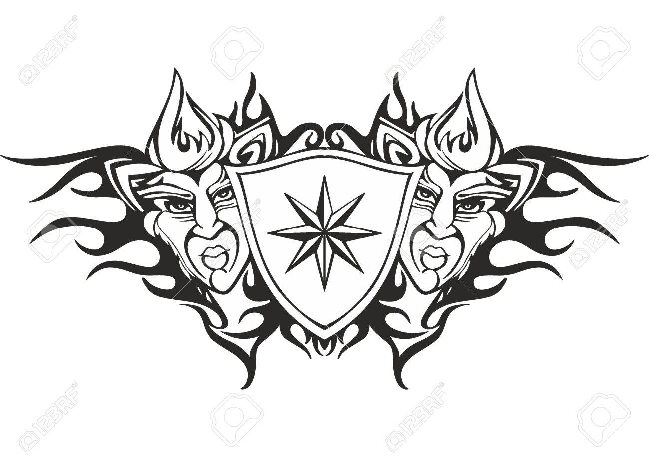symmetric tribal flame tattoo template with a star and deity