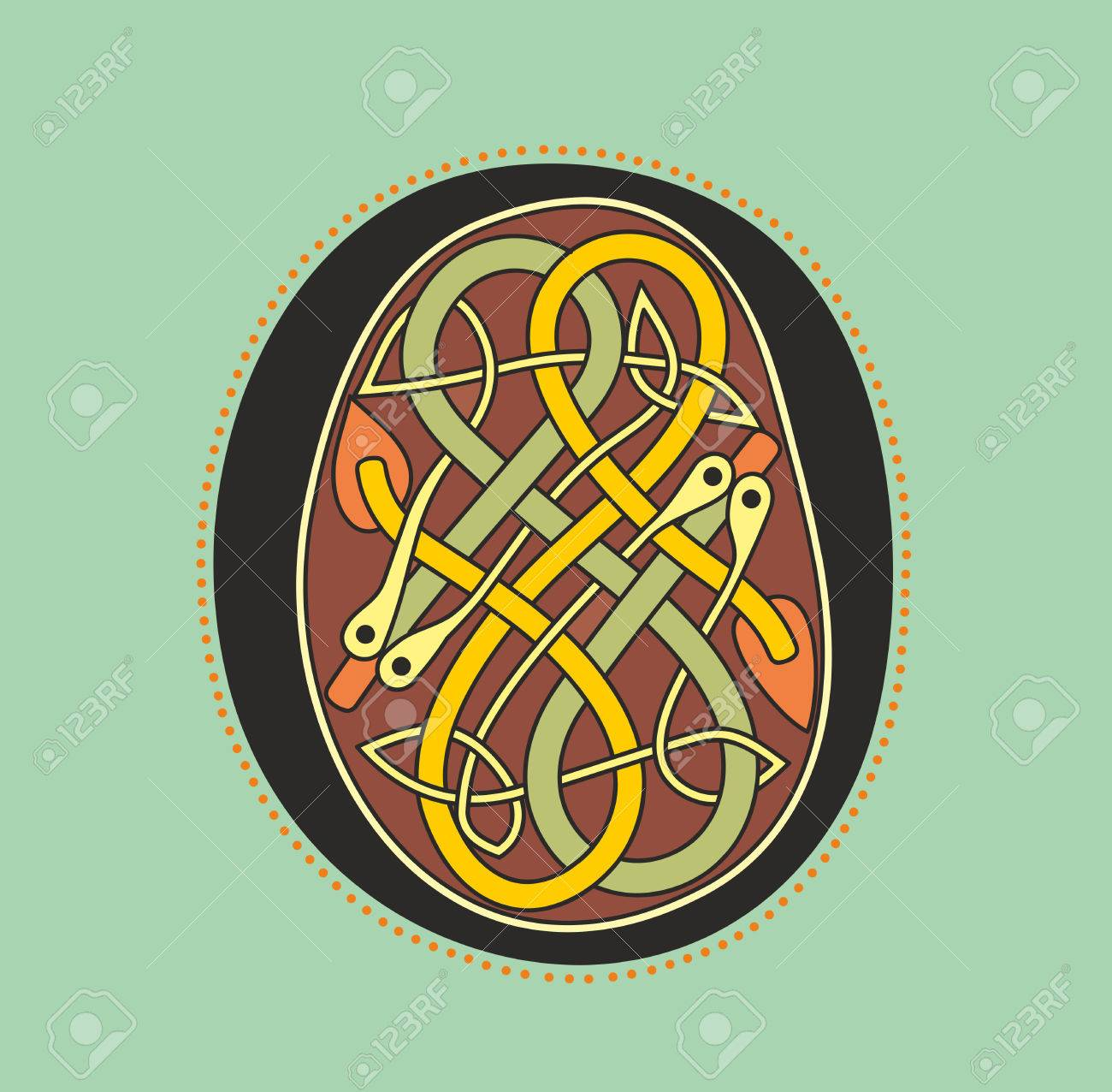 Decorative Ornamental Initial Letter O In Celtic Style Form Of Serpentine Knot Like An Illustration