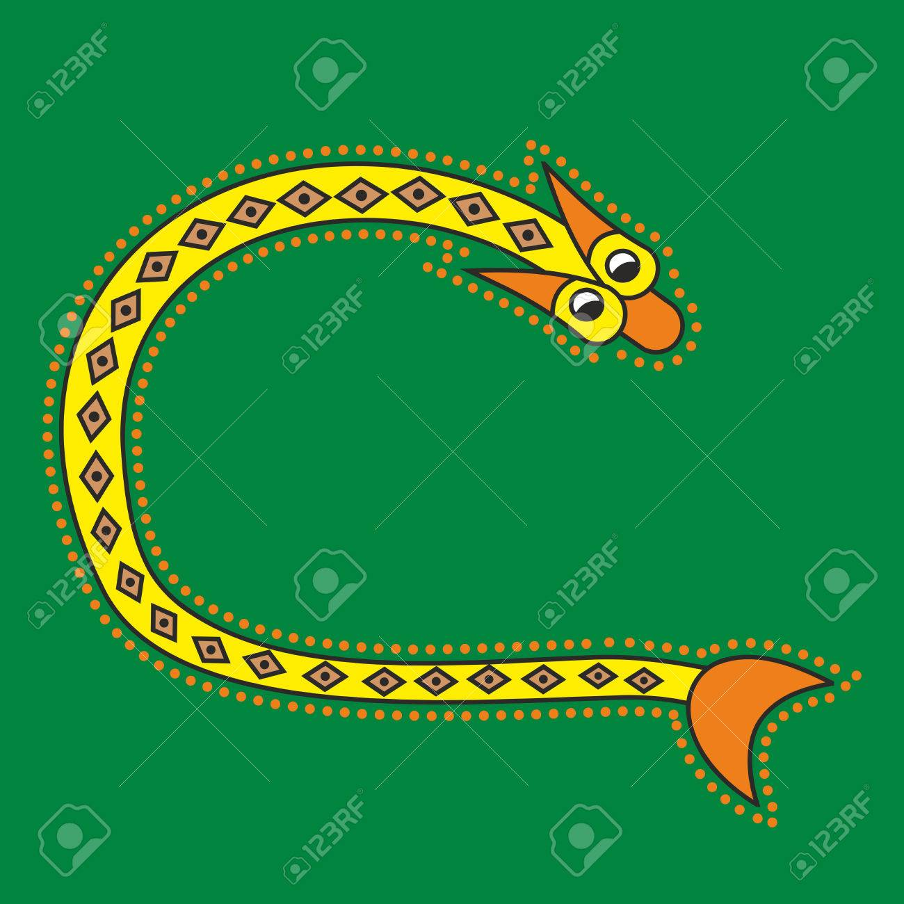 Decorative Ornamental Initial Letter C In Celtic Style Form Of Snake Like An Illustration