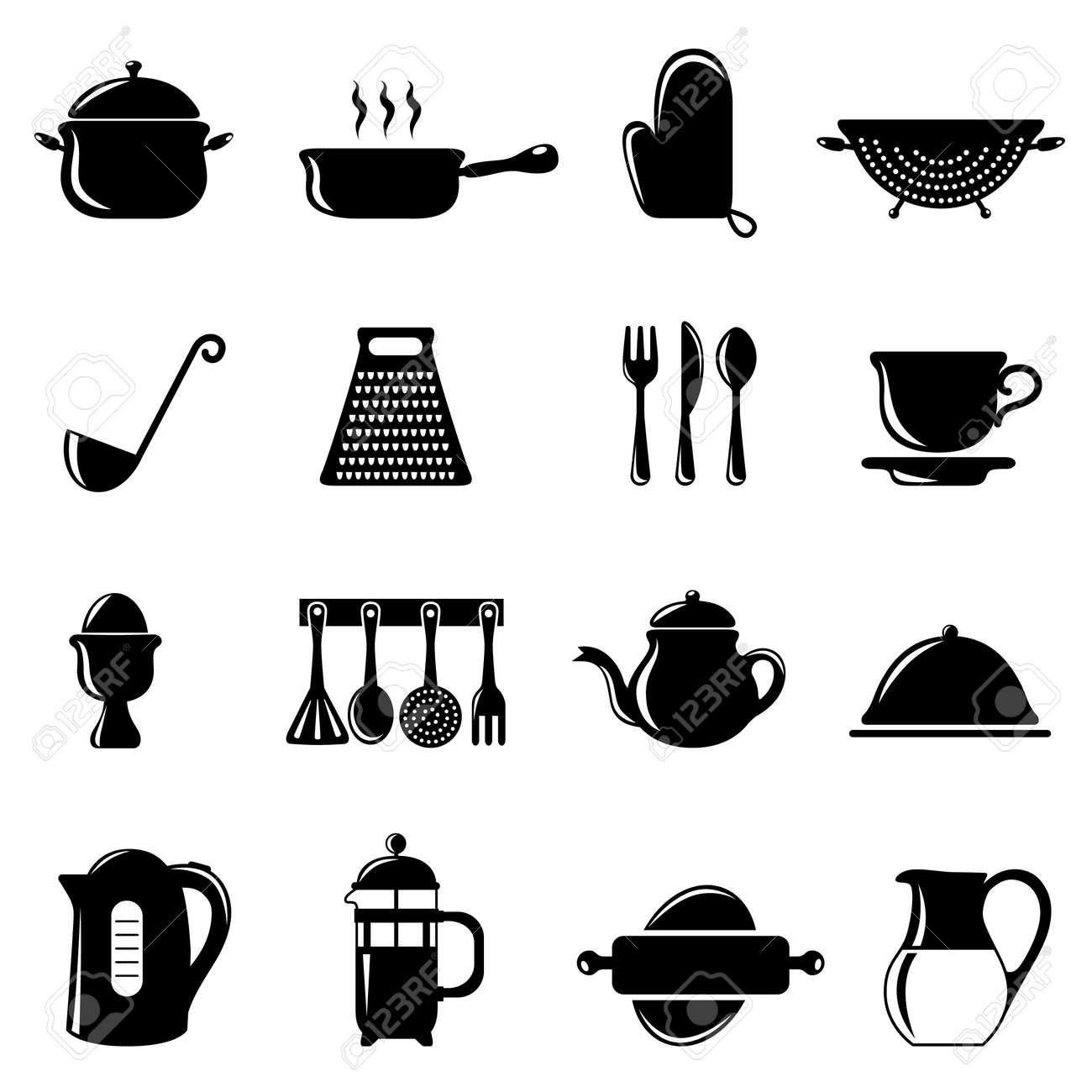 Insieme Di Oggetti Di Cucina Clipart Royalty-free, Vettori E ...