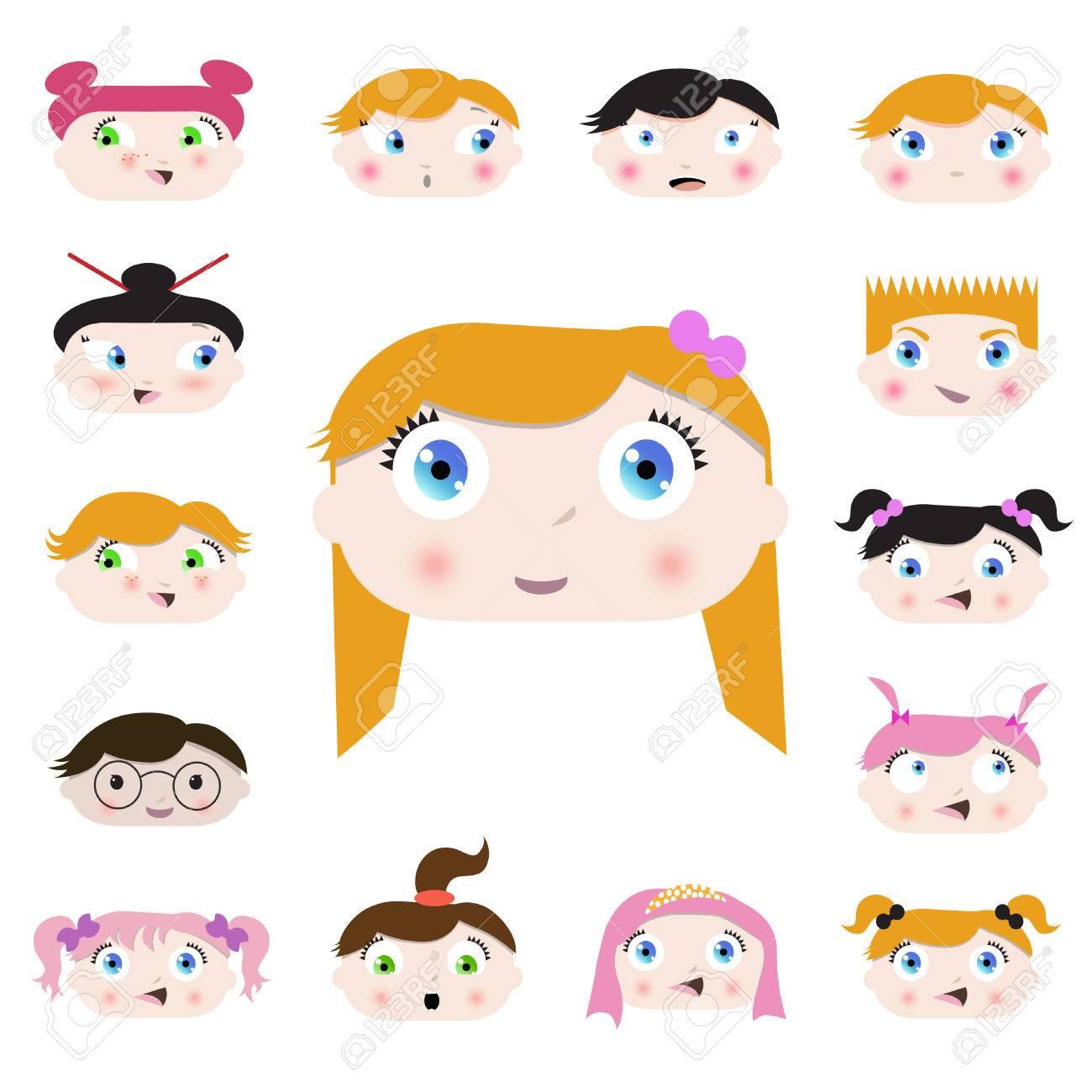 set of cartoon child faces design Stock Vector - 8352780