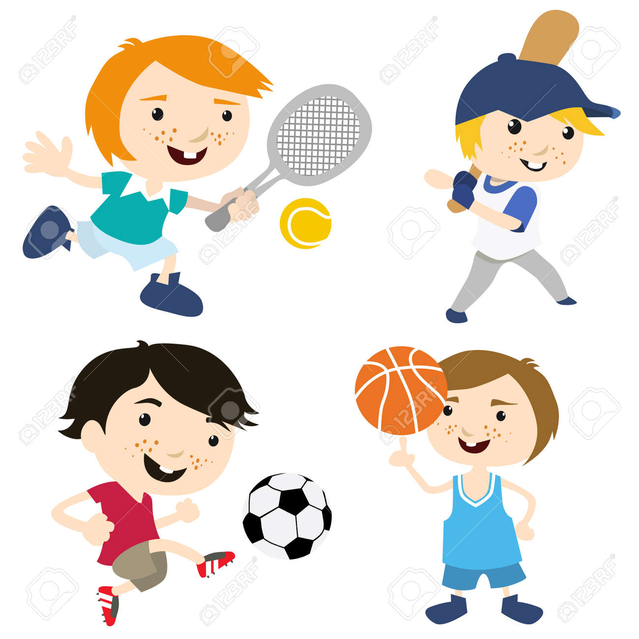Cartoon Sport Kids Royalty Free Cliparts, Vectors, And Stock ...
