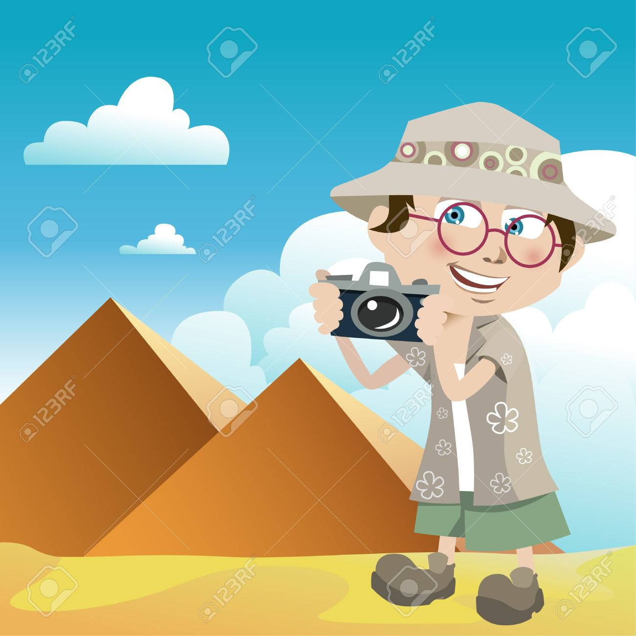 tourist guy (pyramids) Stock Vector - 8352790