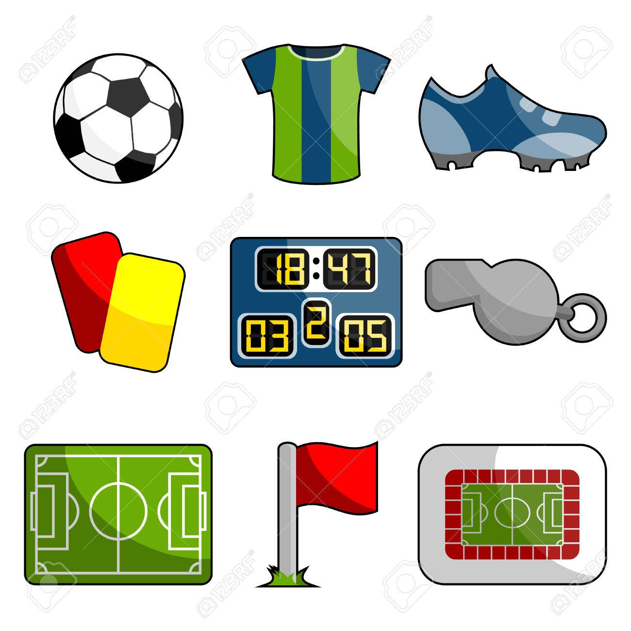 soccer object icon set Stock Vector - 8717909