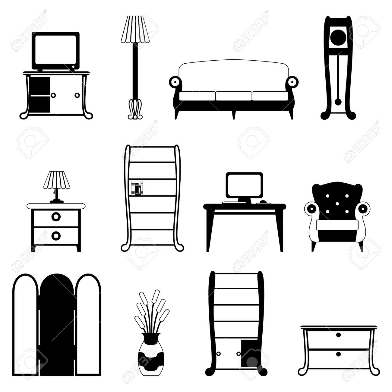 Modern Furniture Icon furniture objects royalty free cliparts, vectors, and stock