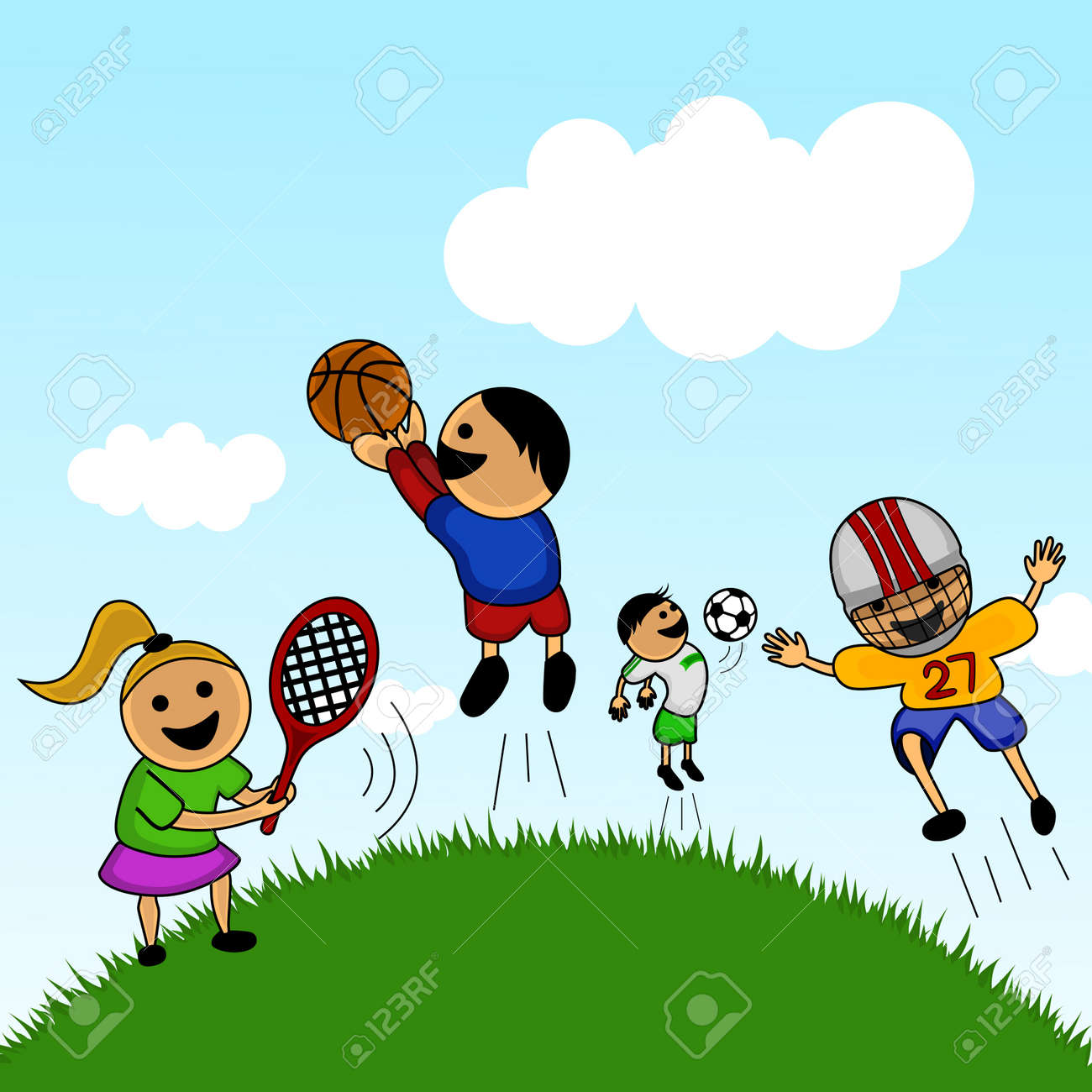 Cartoon Kids Playing Royalty Free Cliparts Vectors And Stock