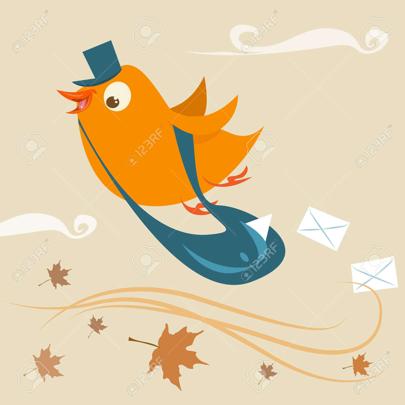 mail delivery bird Stock Vector - 11131226
