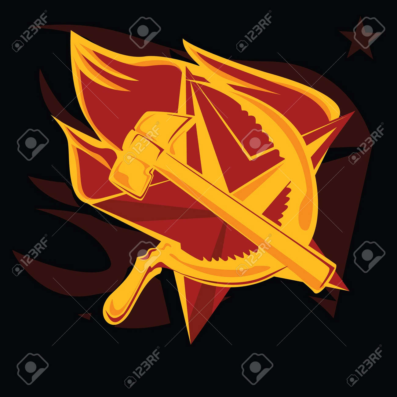 Hammer and sickle on the flame star communism symbol royalty free hammer and sickle on the flame star communism symbol stock vector 11132633 biocorpaavc