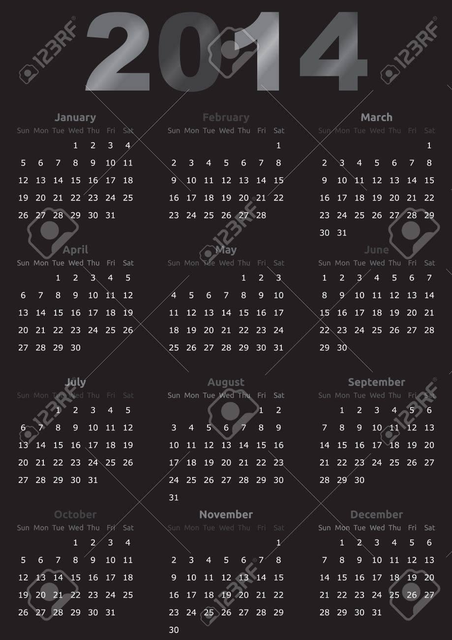 Plantilla Calendario Año | Diseño Oscuro | Negro Ilustraciones ...