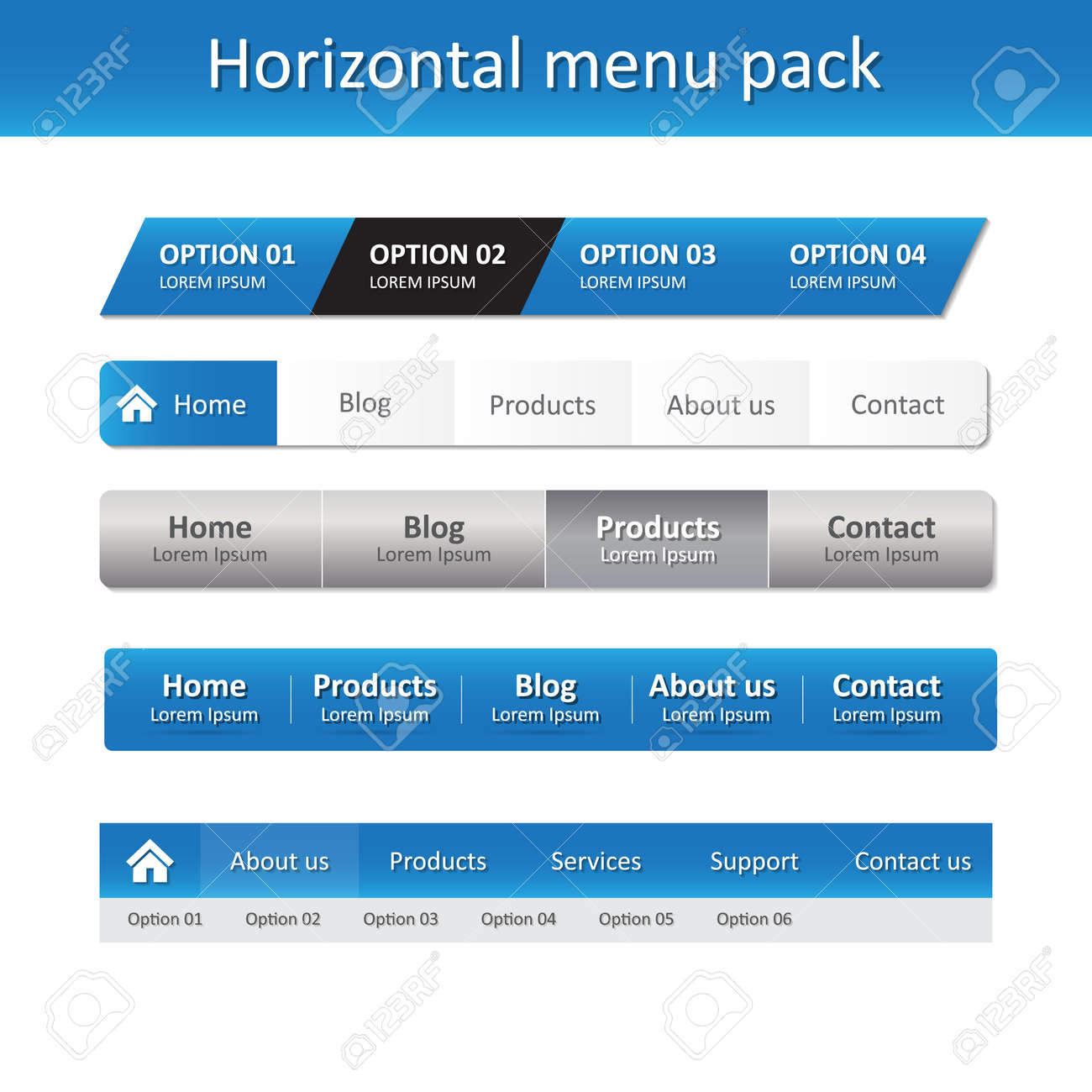 horizontal menu pack vector design website elements template
