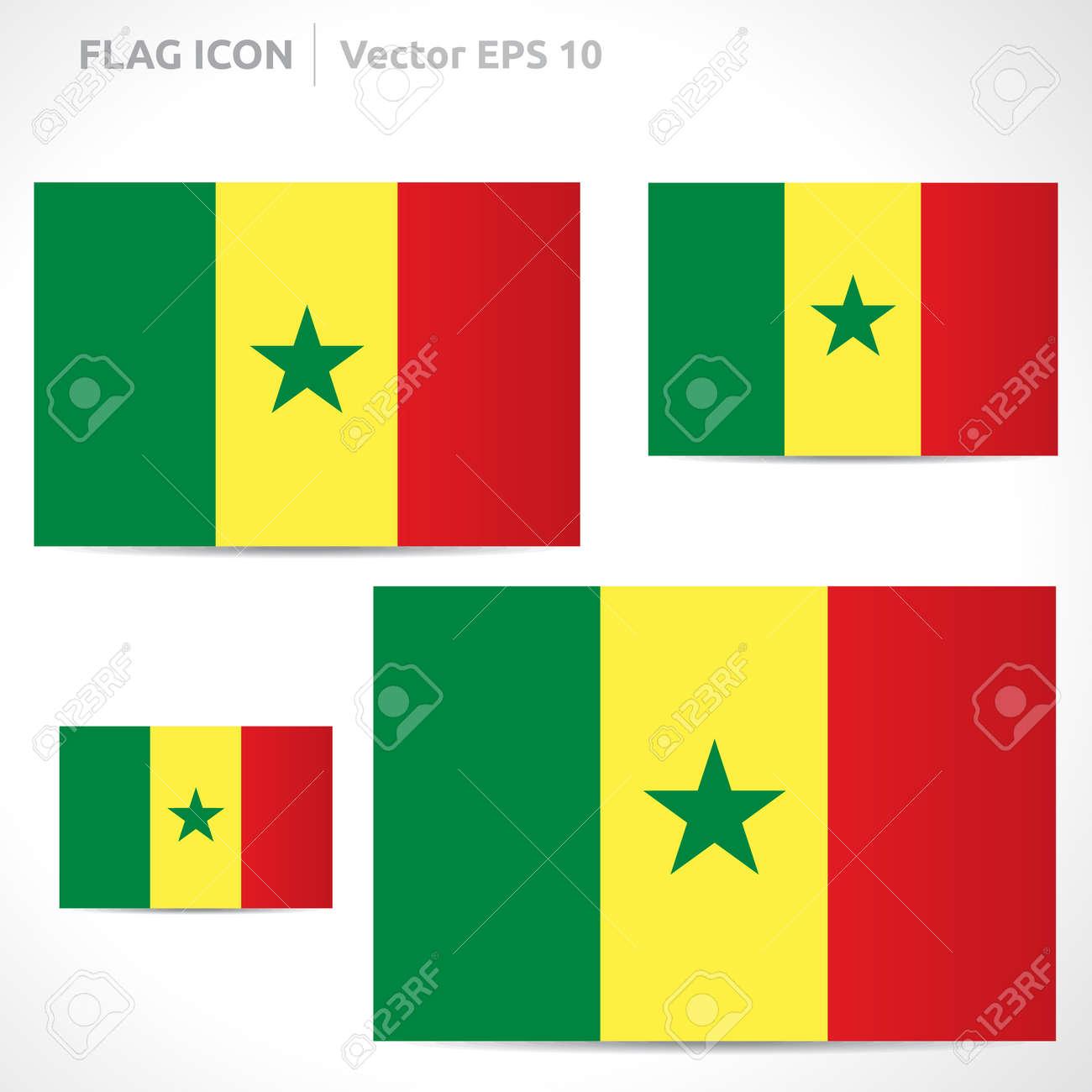 Senegal Flag Template | Vector Symbol Design | Color Yellow Red ...