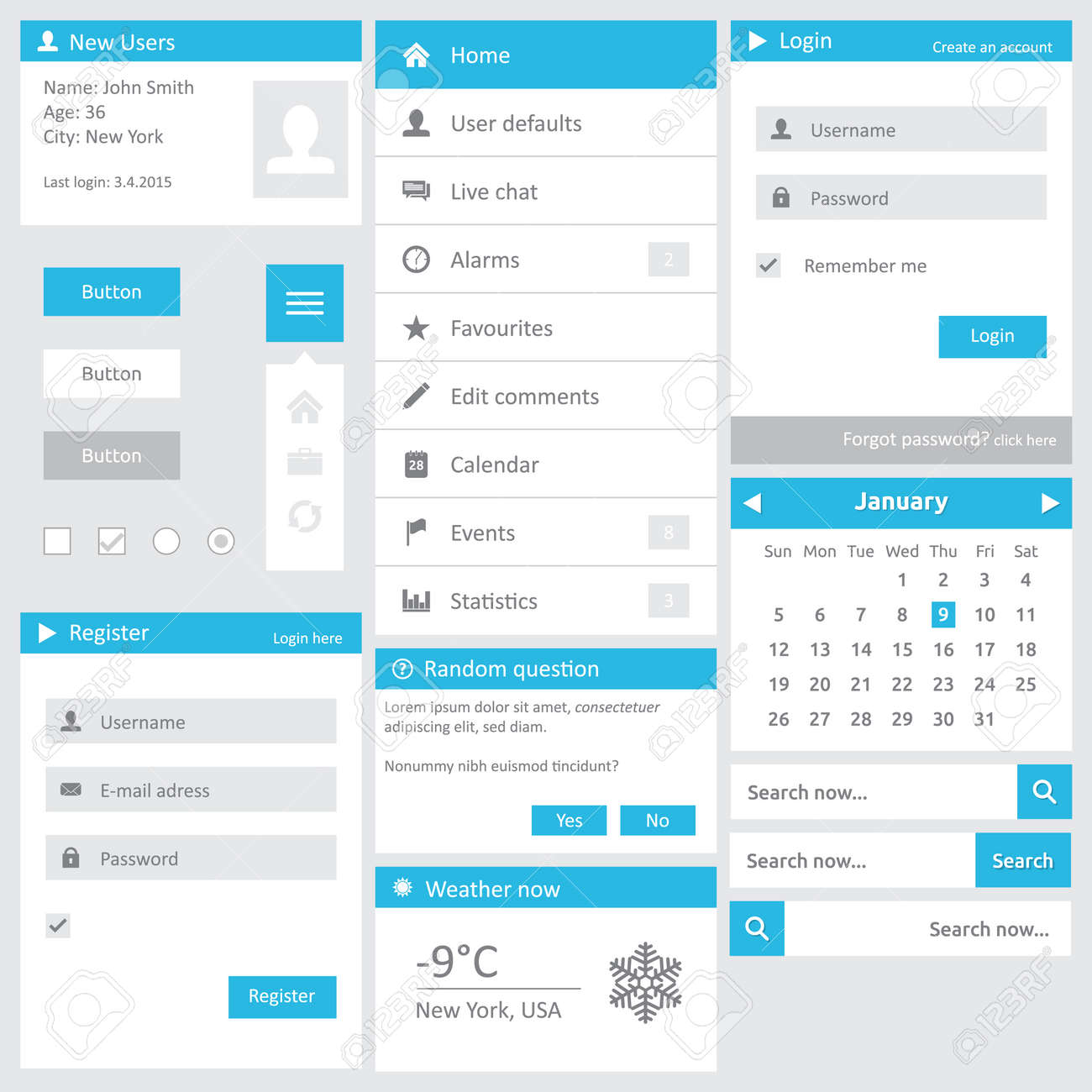 Website Template - Flat Design Elements With Login Calendar Search ...