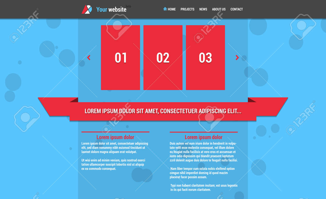 website template with horizontal menu and slideshow blue color