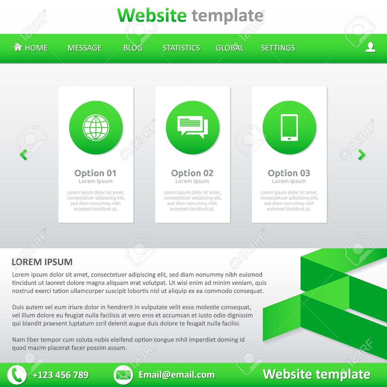 Website Template White And Green - Natural - Slideshow, Footer ...