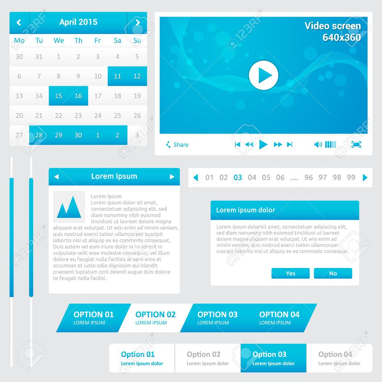 Website-Elemente - Design-Vorlage Für Ihre Webseite - Blaue Und ...