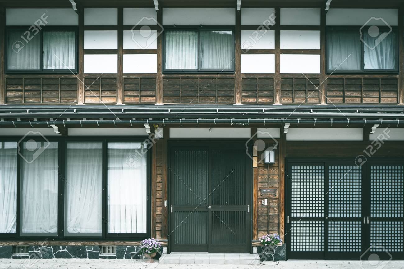 Exterior Traditional Japanese Style House With Modern Door And