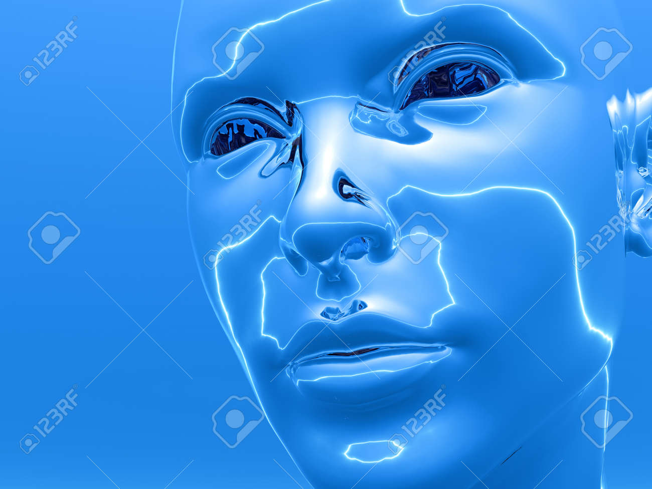 3D girl  head  - futuristic scene. Digital artwork Stock Photo - 1557798