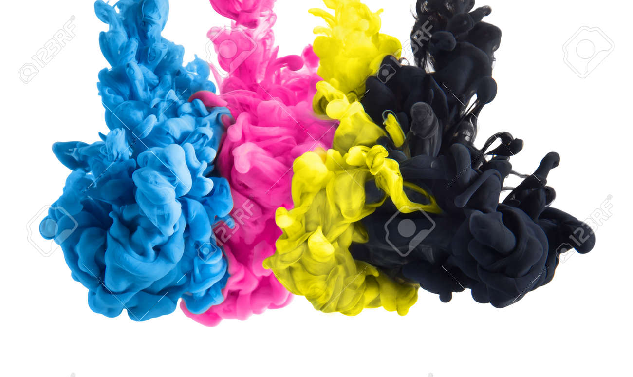 Color Splashes Of Ink In Cyan Magenta Yellow Black As Symbol Stock