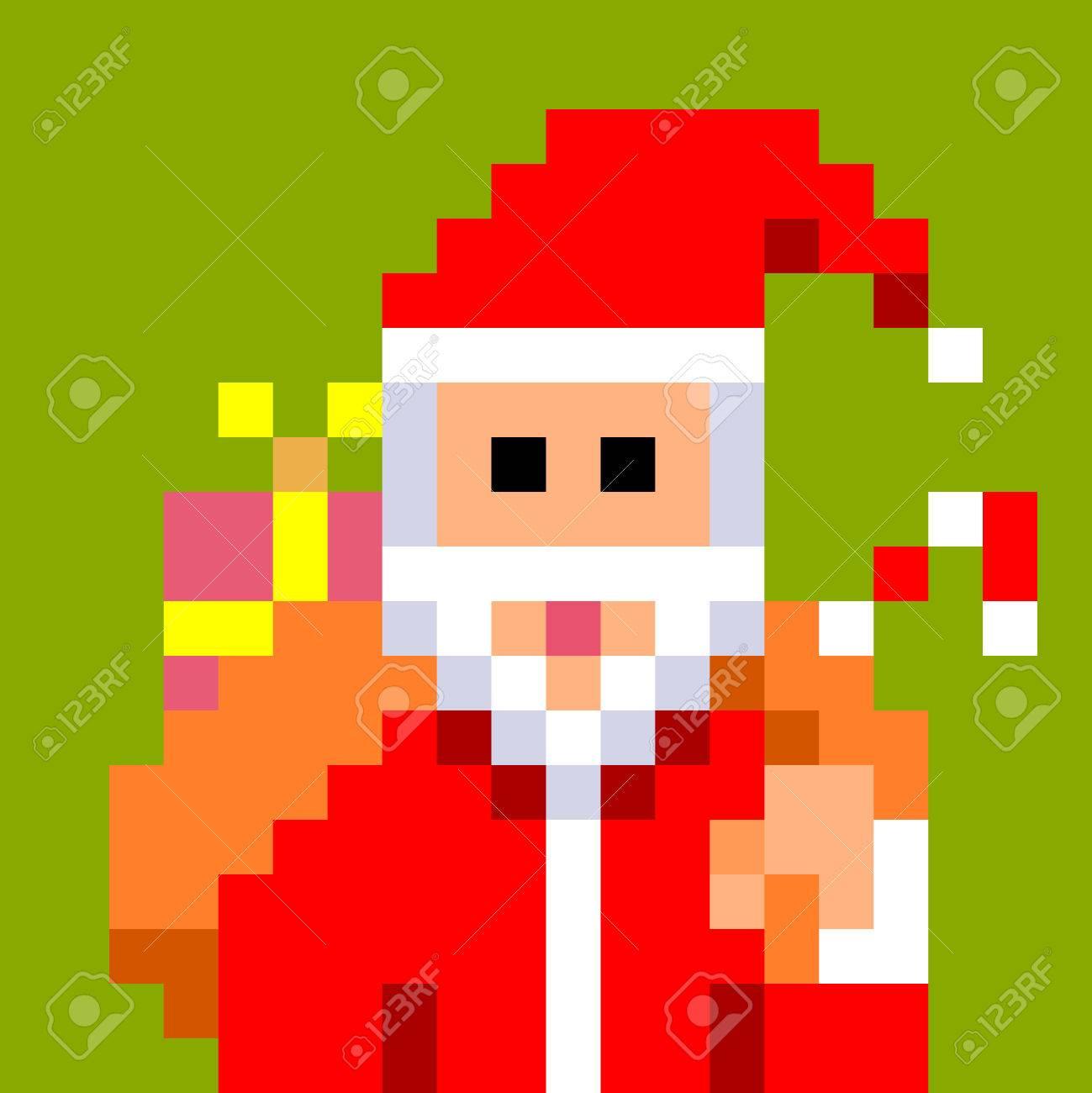 Pixel Art Père Noël Portant Un Grand Sac Plein De Cadeaux Pour Noël