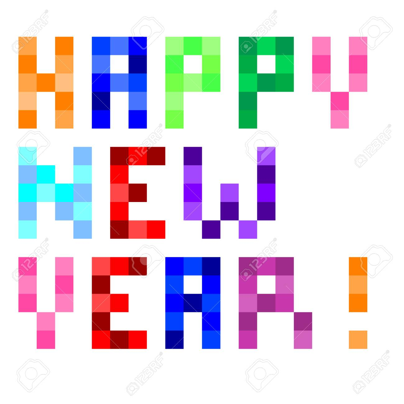 Vector Pixel Art Colorful Happy New Year Text Isolated On White