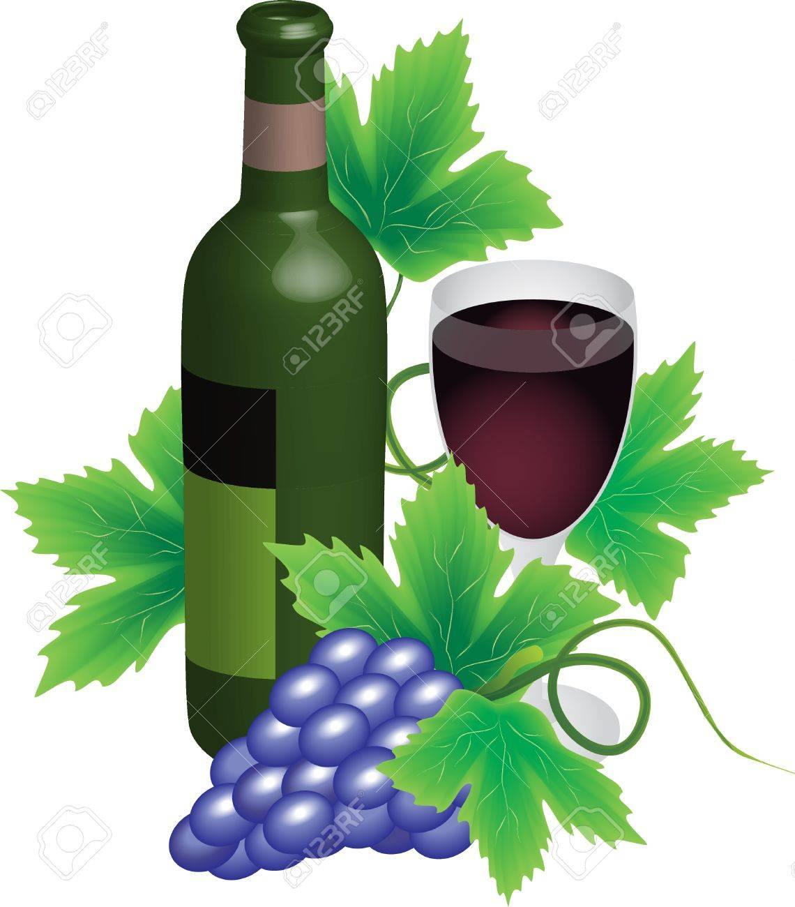 Bottle and glass of red wine with grapes Stock Vector - 10426933