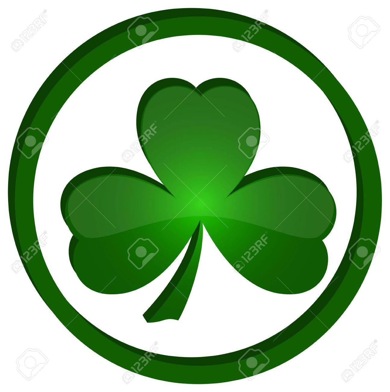 Green Shamrock As A Symbol Of St Patricks Day Isolated On White