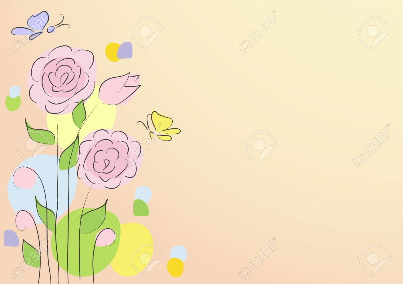 Greeting Card with roses on a light background Stock Vector - 12956293