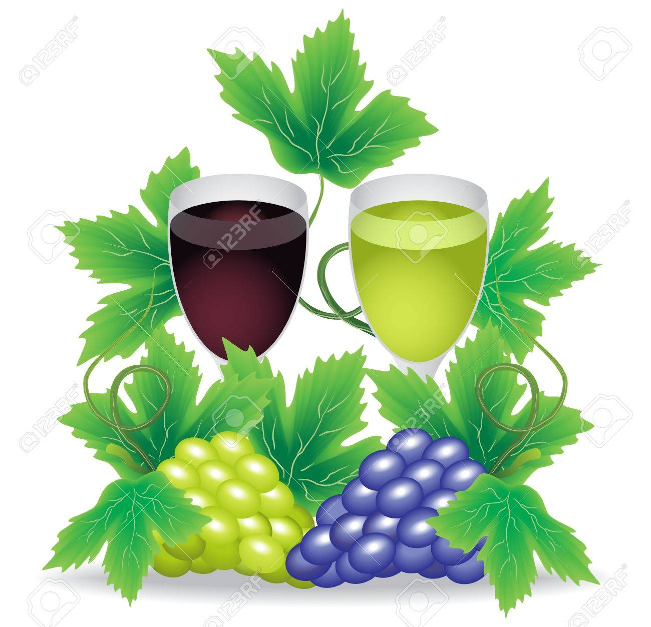 glasses of red and white wine grapes on a background of green and red grapes Stock Vector - 13308728